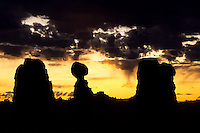 balanced Rock at sunrise in Arches National Park, Utah, USA