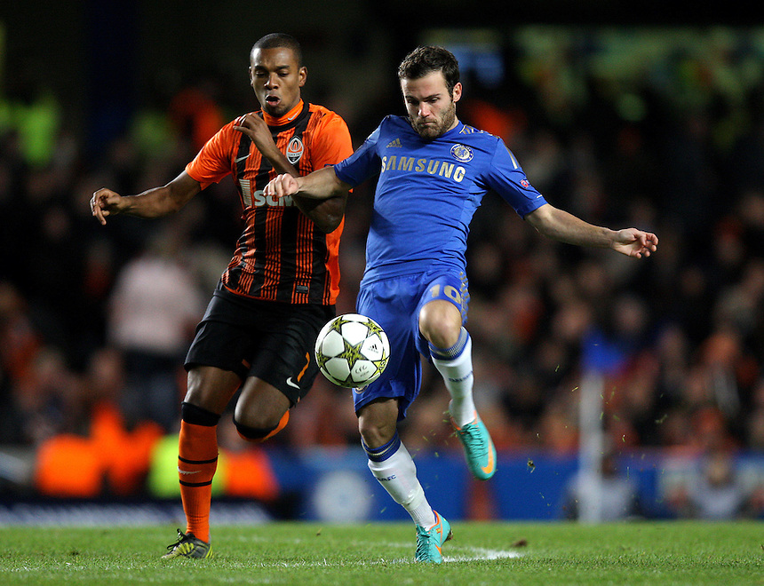 Shakhtar Donetsk's Fernandinho battles with Chelsea's Juan Mata ..Football - UEFA Champions League Group E - Chelseav Shakhtar Donetsk - Wednesday 7th November 2012 - Stamford Bridge - London..