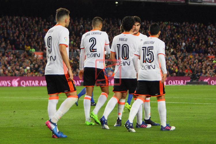 League Santander 2016/2017. Game: 28.<br /> FC Barcelona vs Valencia CF: 4-2.<br /> Munir, Joao Cancelo, Parejo &amp; Orellana.