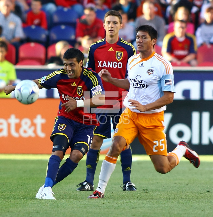Javier Morales, Will Johnson, Brian Ching in the Real Salt Lake v Houston 0-0 draw win at Rio Tinto Stadium in Sandy, Utah on August 15, 2009