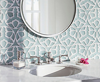 Rosamond, a waterjet stone mosaic, shown in Infinity Serenity glass and polished Dolomite, is part of the Bright Young Things™ collection by New Ravenna.