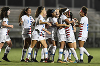 Lakewood Ranch, FL - Wednesday, October 10, 2018:   Mia Fishel, Samantha Meza, goal celebration during a U-17 USWNT match against Colombia.  The U-17 USWNT defeated Colombia 4-1.