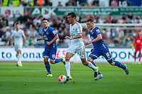 Jack Cork of Swansea   ( with ball ) in action during the Barclays Premier League match between Swansea City and Everton played at the Liberty Stadium, Swansea  on September 19th 2015