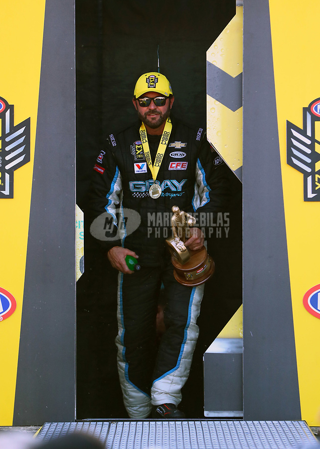 Mar 19, 2017; Gainesville , FL, USA; NHRA pro stock driver Shane Gray celebrates after winning the Gatornationals at Gainesville Raceway. Mandatory Credit: Mark J. Rebilas-USA TODAY Sports
