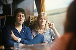 "Paul and Linda McCartney tour bus 1970s UK. The photographs from this set were taken in 1975. I was on tour with them for a children's ""Fact Book"". This book was called, The Facts about a Pop Group Featuring Wings. Introduced by Paul McCartney, published by G.Whizzard. They had recently recorded albums, Wildlife, Red Rose Speedway, Band on the Run and Venus and Mars. I believe it was the English leg of Wings Over the World tour. But as I recall they were promoting,  Band on the Run and Venus and Mars in particular."
