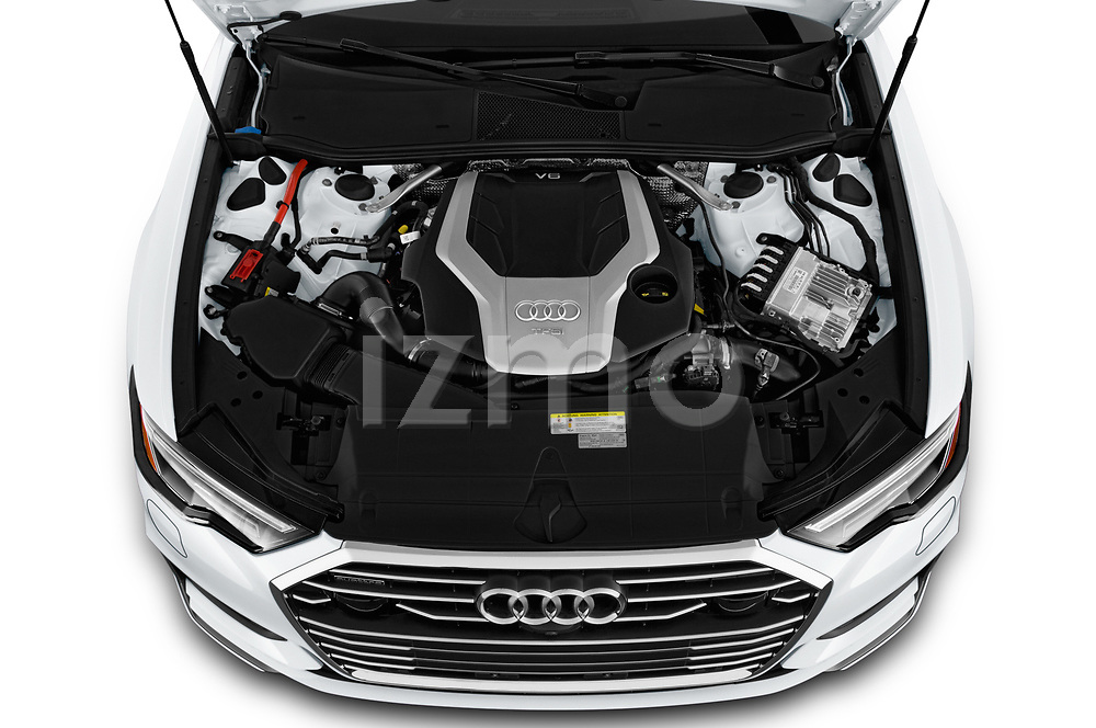 Car stock 2019 Audi A6 Premium Plus 4 Door Sedan engine high angle detail view