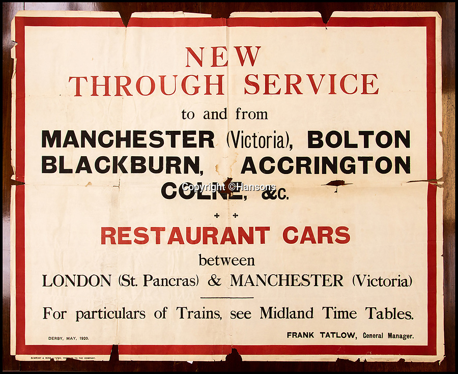 BNPS.co.uk (01202 558833)Pic: Hansons/BNPS<br /> <br /> First World War poster - Estimated at £200-300.<br /> <br /> Vintage railway posters promoting the golden age of steam which were rescued from a station roof just before the building was demolished 54 years ago have emerged for sale for £20,000.<br /> <br /> The pristine Midland Railway posters - which date from 1910 to 1920 - were found by chance by a Cambridge undergraduate during a night out with friends in the tiny village of Edwaldton on the outskirts of Nottingham in 1964.<br /> <br /> As they walked through the old ticket office at Edwalton railway station, 22 year old Chris Hind saw some paper that had fallen through a hole in the ceiling. <br /> <br /> The next day, he returned to the station and fashioned a makeshift ladder to climb into the loft where the paper had fallen from and was amazed to discover a vast collection of about 40 posters which he has kept since then.