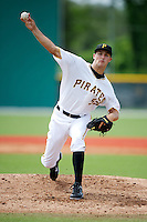 GCL Pirates Jonathan Sandfort #55 during a Gulf Coast League game against the GCL Phillies at Pirate City on July 18, 2012 in Bradenton, Florida.  GCL Pirates defeated the GCL Phillies 6-3.  (Mike Janes/Four Seam Images)