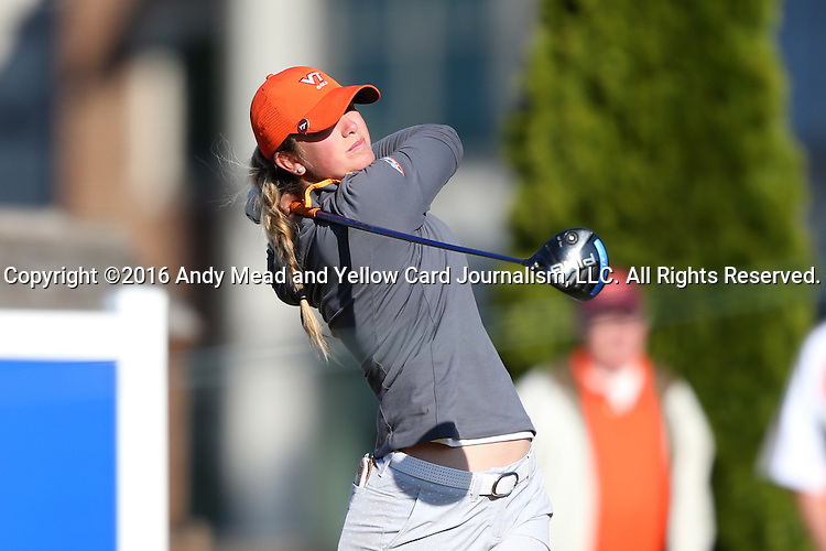 17 April 2016: Virginia Tech's Anne Taylor Hough. The Second Round of the Atlantic Coast Conference's Women's Golf Championship was held at Sedgefield Country Club in Greensboro, North Carolina.