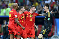 KAZAN - RUSIA, 06-07-2018: Kevin DE BRUYNE, Thomas VERMAELEN, Toby ALDERWEIRELD, Thibaut COURTOIS (GK) jugadores de Bélgica celebran después del partido de cuartos de final entre Brasil y Bélgica por la Copa Mundial de la FIFA Rusia 2018 jugado en el estadio Kazan Arena en Kazán, Rusia. / Kevin DE BRUYNE, Thomas VERMAELEN, Toby ALDERWEIRELD, Simon MIGNOLET (GK) players of Belgium celebrate after the match between Brazil and Belgium of quarter final for the FIFA World Cup Russia 2018 played at Kazan Arena stadium in Kazan, Russia. Photo: VizzorImage / Julian Medina / Cont
