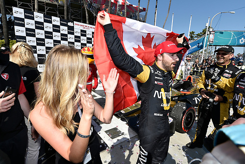 2017 Verizon IndyCar Series<br /> Toyota Grand Prix of Long Beach<br /> Streets of Long Beach, CA USA<br /> Sunday 9 April 2017<br /> James Hinchcliffe celebrates the win in victory lane<br /> World Copyright: Scott R LePage/LAT Images<br /> ref: Digital Image lepage-170409-LB-7637