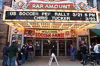Fans line up outside the Paramount Theater in Denver, CO before the USA Men's National Team prep rally on March 21, 2013.