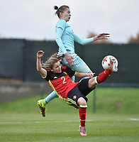 20171123 - TUBIZE , BELGIUM : Belgian Davina Philtjens (2)  pictured during a friendly game between the women teams of the Belgian Red Flames and Russia at complex Euro 2000 in Tubize , Thursday  23 October 2017 ,  PHOTO Dirk Vuylsteke | Sportpix.Be