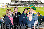 Clodagh McKenna, Emma Faley, Christina McKenna and Eilis Walsh, all from Listowel, cheering on Kerry at the Kerry v Cork Munster Final held at Páirc Uí Chaoimh, Cork, on Saturday evening last.​