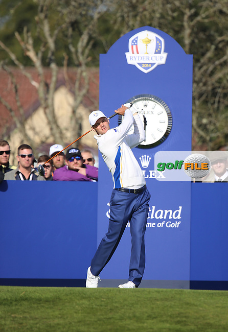 Martin Kaymer (EUR) during the Saturday morning Fourballs of the 2014 Ryder Cup at Gleneagles. The 40th Ryder Cup is being played over the PGA Centenary Course at The Gleneagles Hotel, Perthshire from 26th to 28th September 2014.: Picture Kenneth E.Dennis, www.golffile.ie: \27/09/2014\