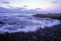 Waves at sunset, Kaena Point, North Shore of Oahu