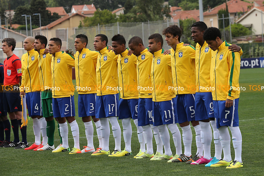 Brazil line up for their National Anthem prior to kick-off - Brazil Under-20 vs South Korea Under-20 - Toulon Tournament Group B Football at Lagrange Stadium, Toulon, France - 22/05/14 - MANDATORY CREDIT: Paul Dennis/TGSPHOTO - Self billing applies where appropriate - contact@tgsphoto.co.uk - NO UNPAID USE