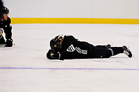 September 15, 2017: Boston Bruins left wing Anton Blidh (81) rests during the Boston Bruins training camp held at Warrior Ice Arena in Brighton, Massachusetts. Eric Canha/CSM