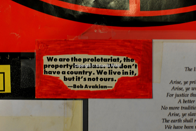 A Bob Avakian quote on the door of the apartment of Grant Newburger, 50, an active supporter of Bob Avakian's Revolutionary Communist Party, on the second floor of a Cabrini Green high rise building on the northeast corner of Halsted and Division Streets at 1230 N. Burling in Chicago, Illinois on December 18, 2007.