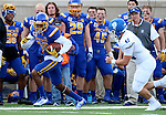 BROOKINGS, SD - SEPTEMBER 10:  Adam Anderson #80 from South Dakota State looks for running room past Zac Rujawitz #42 from Drake during their game at the Dana J. Dykhouse Stadium Saturday night in Brookings. (Photo by Dave Eggen/Inertia)