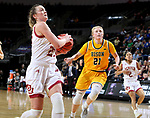 SIOUX FALLS, SD - MARCH 8: Madison Nelson #23 of the Denver Pioneers drives to the basket against Rylee Nudell #21 of the North Dakota State Bison at the 2020 Summit League Basketball Championship in Sioux Falls, SD. (Photo by Dave Eggen/Inertia)