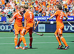 The Hague, Netherlands, June 13: Mink van der Weerden #30 of The Netherlands celebrates after scoring a penalty corner for the leading goal (1-0) during the field hockey semi-final match (Men) between The Netherlands and England on June 13, 2014 during the World Cup 2014 at Kyocera Stadium in The Hague, Netherlands. Final score 1-0 (1-0)  (Photo by Dirk Markgraf / www.265-images.com) *** Local caption *** Mink van der Weerden #30 of The Netherlands, Billy Bakker #8 of The Netherlands, Constantijn Jonker #27 of The Netherlands