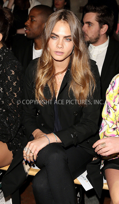 WWW.ACEPIXS.COM<br /> <br /> February 23 2015, London<br /> <br /> Cara Delevingne at the Giles Front Row show during London Fashion Week Autumn/Winter 2015 on February 23 2015 in London<br /> <br /> By Line: Famous/ACE Pictures<br /> <br /> <br /> ACE Pictures, Inc.<br /> tel: 646 769 0430<br /> Email: info@acepixs.com<br /> www.acepixs.com
