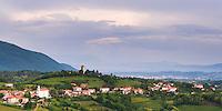 Vineyards and  the hill top town of Kojsko, Goriska Brda (Gorizia Hills), in Brda, the wine region of Slovenia, Europe