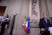 Roma, 12 Dicembre 2016<br /> Il nuovo presidente del Consiglio Paolo Gentiloni presenta alla stampa la lista dei ministri del Governo, dopo l'incontro con il Presidente della Repubblica al Quirinale
