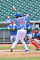 Tennessee Smokies starting pitcher Oscar De La Cruz (37) swings at a pitch during a game against the Mississippi Braves at Smokies Stadium on May 20, 2018 in Kodak, Tennessee. The Braves defeated the Smokies 7-4. (Tony Farlow/Four Seam Images)