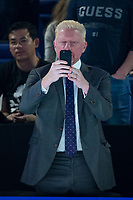 Boris Becker plays with his phone during the NiTTO ATP World Tour 2017 FINAL's Day at the O2, London, England on 19 November 2017. Photo by Andy Rowland.