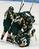 Cassidy Campeau (UVM - 18), Bridget Baker (UVM - 16), Amanda Drobot (UVM - 12), Alyssa Gorecki (UVM - 23) -  The Boston College Eagles defeated the University of Vermont Catamounts 4-3 in double overtime in their Hockey East semi-final on Saturday, March 4, 2017, at Walter Brown Arena in Boston, Massachusetts.