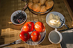 Breakfast with bread, jam, butter & tomatoes at the Monastery Mileševa, Serbia originally built in the 13th century.