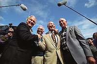 Former Packers Paul Hornung, Fuzzy Thurston, Bart Starr and Bob Skoronski are introduced to the fans at the September 15,1996 game against the San Diego Chargers. Part of the Packers' commitment to the fans involves bringing back past Packers for an alumni appreciation day.