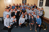 The Hurricanes pose with legendary photographer Peter Bush after the Super Rugby match between the Hurricanes and Blues at Westpac Stadium, Wellington, New Zealand on Saturday, 2 July 2016. Photo: Dave Lintott / lintottphoto.co.nz