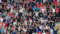 Lincoln City fans celebrate their teams second goal, scored by Lincoln City's Harry Anderson<br /> <br /> Photographer Chris Vaughan/CameraSport<br /> <br /> The EFL Sky Bet Championship - Rotherham United v Lincoln City - Saturday 10th August 2019 - New York Stadium - Rotherham<br /> <br /> World Copyright © 2019 CameraSport. All rights reserved. 43 Linden Ave. Countesthorpe. Leicester. England. LE8 5PG - Tel: +44 (0) 116 277 4147 - admin@camerasport.com - www.camerasport.com