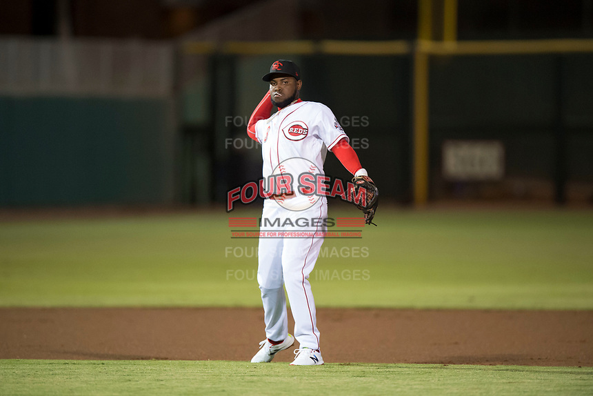 Scottsdale Scorpions shortstop Alfredo Rodriguez (3), of the Cincinnati Reds organization, throws to first base during an Arizona Fall League game against the Mesa Solar Sox on October 9, 2018 at Scottsdale Stadium in Scottsdale, Arizona. The Solar Sox defeated the Scorpions 4-3. (Zachary Lucy/Four Seam Images)