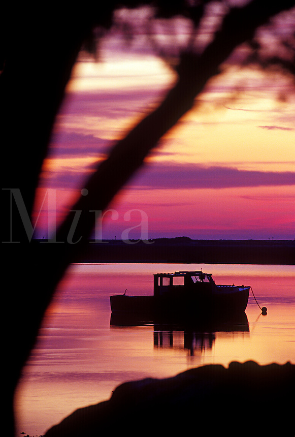 Lobster boat anchored in Nauset Harbor, Orleans, Cape Cod, MA