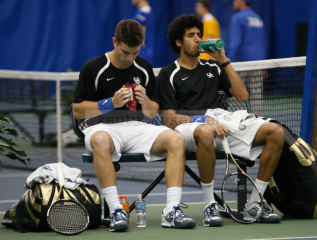 Senior Eric Quigley and sophomore Panav Jha prepare for thier match against Tulsa on 1/28/12 at the Hilary J. Boone Tennis Center in Lexington, Ky. Photo by Quianna Lige | Staff