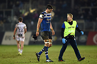 Luke Charteris of Bath Rugby is led off the field after taking a knock to the head. Premiership Rugby Cup match, between Bath Rugby and Gloucester Rugby on February 3, 2019 at the Recreation Ground in Bath, England. Photo by: Patrick Khachfe / Onside Images