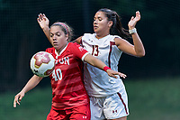 NEWTON, MA - AUGUST 29: Jenna Oldham #40 of Boston University and Jade Ruiters #13 of Boston College battle for throw in during a game between Boston University and Boston College at Newton Campus Field on August 29, 2019 in Newton, Massachusetts.