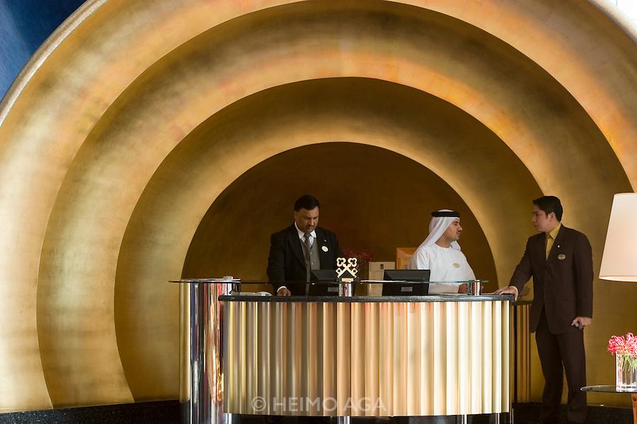 Jumeirah, Burj Al Arab, the World's most luxurious hotel. The Concierge Desk.