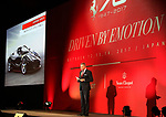 "October 12, 2017, Tokyo, Japan - Italian sports car maker Ferrari Far and Middle East CEO Dieter Knechtel delivers a speech as he introduces ""LaFerrari Aperta"" to celebrate Ferrari's 70th anniversary event at Tokyo's Kokugikan sumo gymnasium on Thursday, Octoebr 12, 2017. Ferrari also displayed 40 sports cars outside of the Kokugikan.   (Photo by Yoshio Tsunoda/AFLO) LWX -ytd"
