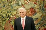 Turkish Prime Minister Binali Yildirim in the Zarzuela Palace. April 25,2015. (ALTERPHOTOS/Acero)
