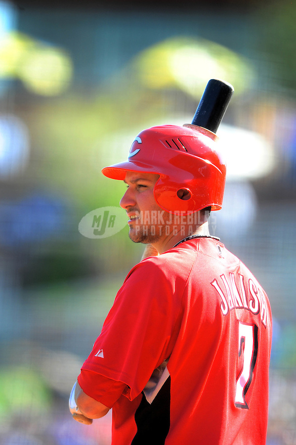 Mar. 12, 2010; Glendale, AZ, USA; Cincinnati Reds infielder Paul Janish against the Los Angeles Dodgers at The Ballpark at Camelback Ranch. Mandatory Credit: Mark J. Rebilas-