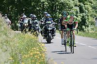 Simon Clarke (AUS/Cannondale-Drapac) & Michal Kwiatkowski (POL/SKY) riding ahead of the peloton up the Col de la Colombière<br /> <br /> 69th Critérium du Dauphiné 2017<br /> Stage 8: Albertville > Plateau de Solaison (115km)