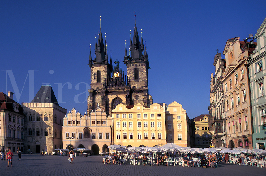 Prague, Czech Republic, Praha, Central Bohemia, Outdoor café and Tyn Church in Old Town Square in the city of Prague.