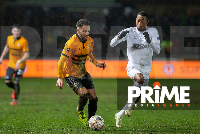 Robbie Willmott of Newport County and Rajiv van La Parra of Middlesbrough during the FA Cup 4th round replay match between Newport County and Middlesbrough at Rodney Parade, Newport, Wales on 5 February 2019. Photo by Mark  Hawkins / PRiME Media Images.