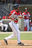 Mike Costanzo #4 of the Carolina Mudcats at bat during a game against the West Tenn Diamond Jaxx on May 30, 2010 in Zebulon, NC.