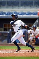 GCL Rays shortstop Adrian Rondon (3) at bat during the second game of a doubleheader against the GCL Red Sox on August 4, 2015 at Charlotte Sports Park in Port Charlotte, Florida.  GCL Red Sox defeated the GCL Rays 2-1.  (Mike Janes/Four Seam Images)